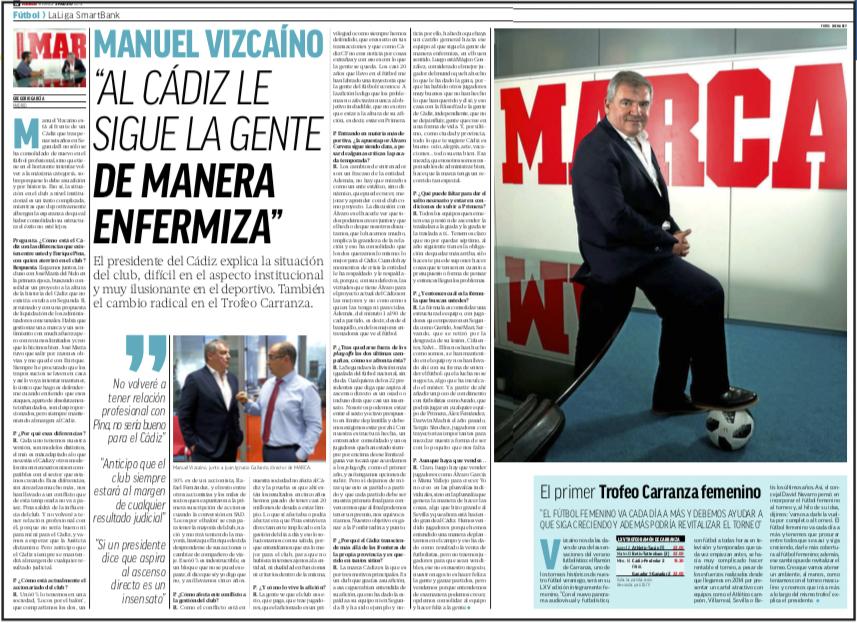Vizcaíno anuncia en MARCA el final de la influencia de Pina en el Cádiz